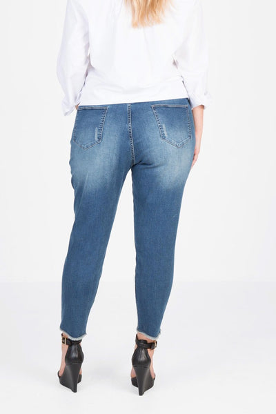 Distressed Stretch Jean (Deep Indigo Denim),,