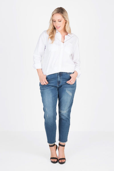 Distressed Stretch Jean (Deep Indigo Denim), Love Your Wardrobe, women's plus size jeans