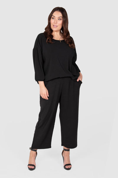 Crop Straight Leg Pull On Pant - Black, Love Your Wardrobe, women's plus size pants