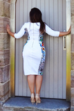 Alessandra Dress - Rainbow Cheetah Print and White,,