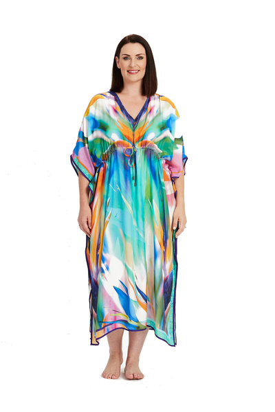 BIRD OF PARADISE KAFTAN, Coral & Co, Coral and Co, women's plus size kaftan