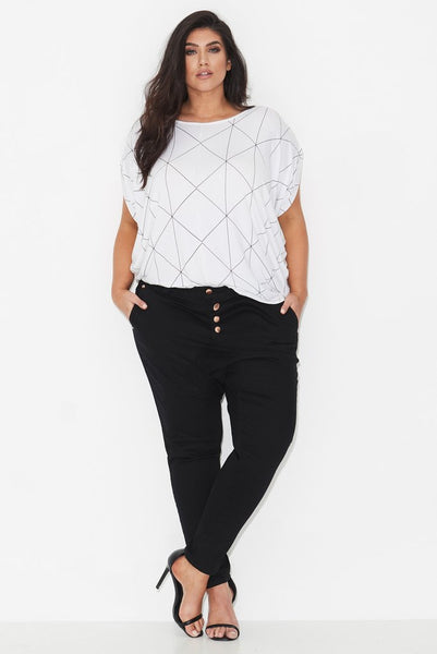 LINEAR PRINT COCOON TOP – WHITE, 17 Sundays, women's plus size top