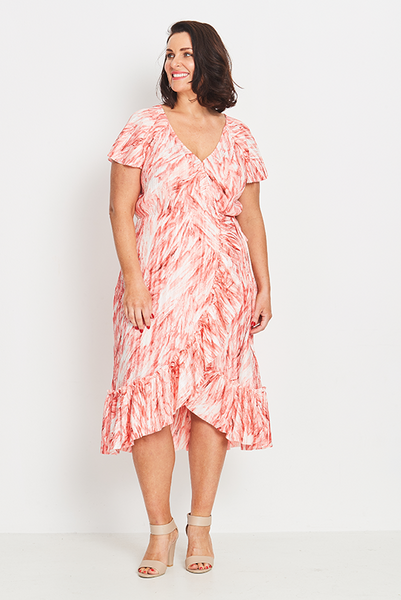 Dress Wrap Ruffled – Coral Feathers, Coral & Co, women's plus size dress