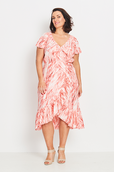 Dress Wrap Ruffled – Coral Feathers,,