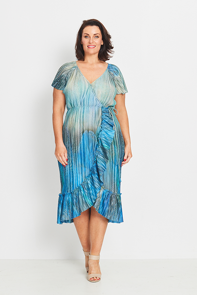Dress Wrap Ruffled – Morning Plume, Coral & Co, women's plus size dress