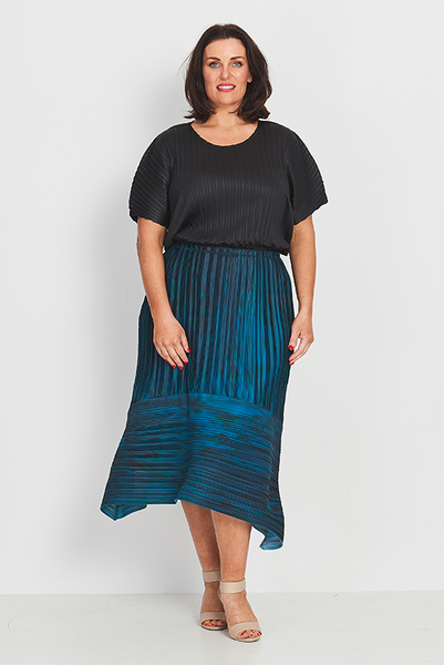 Skirt A-Line Evening Teal, Coral & Co, women's plus size skirt