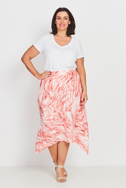 Skirt A-Line – Coral Feathers