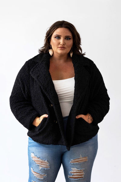 Lux Teddy Coat - Black, Monica The Label, women's plus size coat