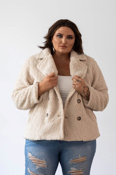 Lux Teddy Coat - Oatmeal, Monica The Label, women's plus size coat