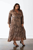 Vancouver Wrap Dress - Velvet Cheetah Print, Monica The Label, women's plus size dress