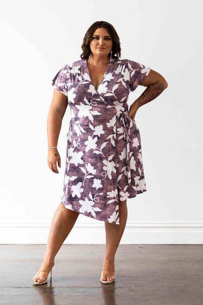 Hollywood Wrap Dress - Pink & White Floral, Monica The Label, women's plus size dresses