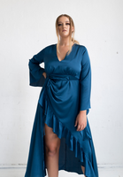 Jasmine Dress (with front ruffle) - Blue Peacock Colour,,