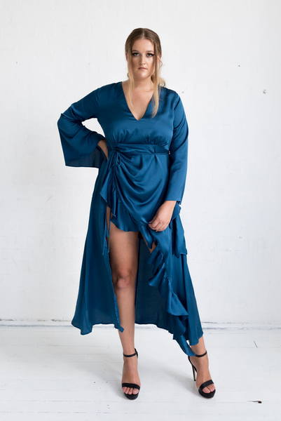 Jasmine Dress (with front ruffle) - Blue Peacock Colour