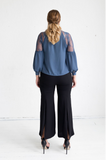 Geranium Lace Shoulder Blouse - Charcoal Blue,,