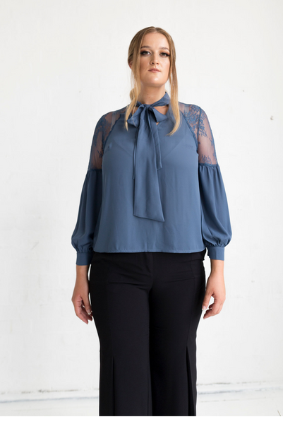 Geranium Lace Shoulder Blouse - Charcoal Blue