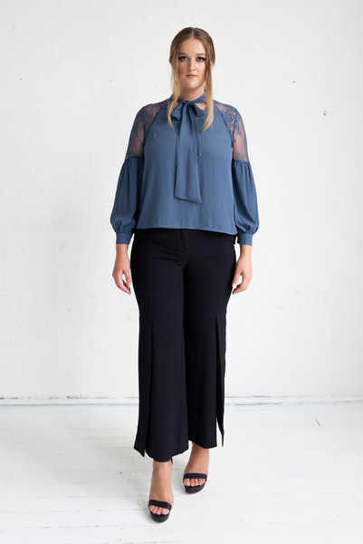 Geranium Lace Shoulder Blouse - Charcoal Blue, Monica The Label, women's plus size blouse