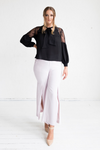 Geranium Lace Shoulder Blouse - Onyx