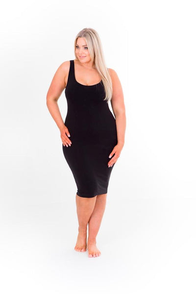 SINGLET SLIP DRESS - BLACK, Sonsee, women's plus size dress