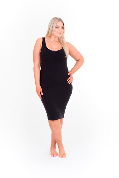 SINGLET SLIP DRESS - BLACK,,