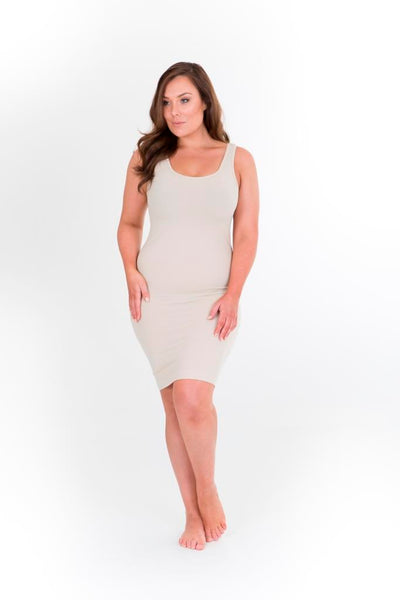 SINGLET SLIP DRESS - NUDE, Sonsee, women's plus size dress