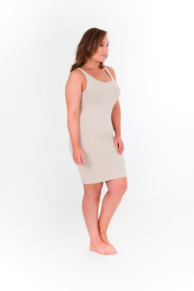 SINGLET SLIP DRESS - NUDE,,
