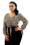 Front Tie Top - Snow Leopard Print, Monica The Label, women's plus size top