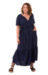 TROPICAL MAXI -NAVY, Hope & harvest, women's plus size dress
