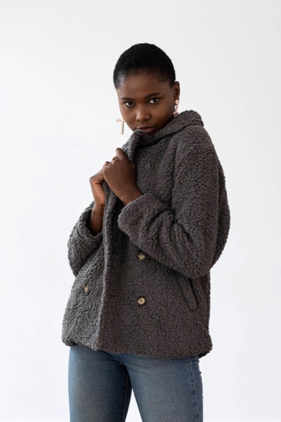 Lux Teddy Coat - Dark Grey