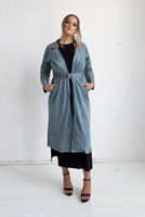 Viola Suede Coat - Blue Grey, Monica The Label, women's plus size coat