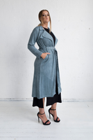 Viola Suede Coat - Blue Grey,,
