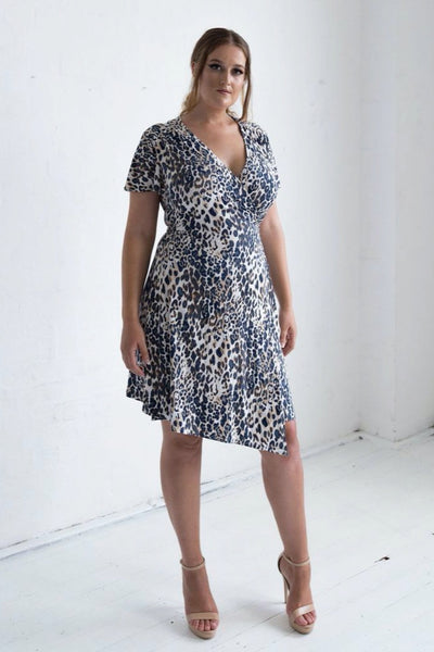 Hollywood Wrap Dress - Leopard Print, Monica The Label, women's plus size dress