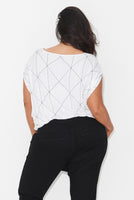 LINEAR PRINT COCOON TOP – WHITE