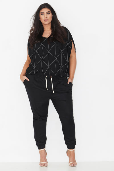 LINEAR PRINT COCOON TOP – BLACK, 17 Sundays, women's plus size top