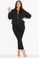 QUILTED BOMBER JACKET - BLACK, 17 Sundays, women's plus size jacket