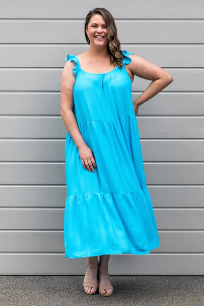 Jaslyn High Volume Dress - Aqua, Love Your Wardrobe, women's plus size dresses
