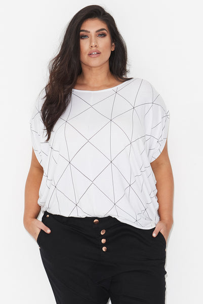 LINEAR PRINT COCOON TOP – WHITE,,