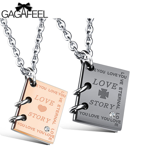 GAGAFEEL Necklace Women Men Pendants Necklaces Custom Engraved Jewelry Square Lovers Zircon Love Story Words Valentines Gifts