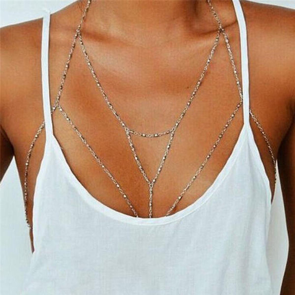 Lady Rhinestone Women Alloy Bead Chain Beach Bikini Harness Necklace Bralette Chain wholesale #py30