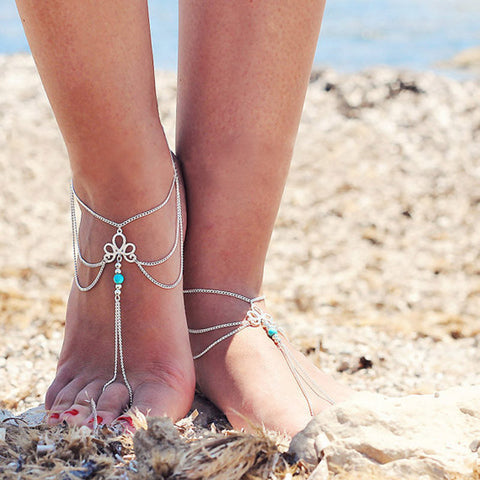 Women Beach Barefoot Sandal Foot Tassel Jewelry Anklet Chain