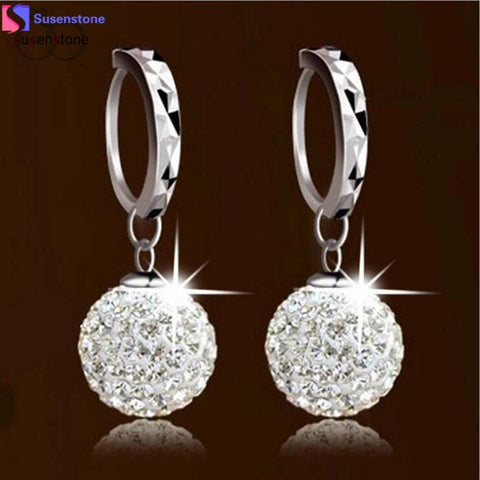 SUSENSTONE Unique Womens white gold filled white Clear crystal charming earring