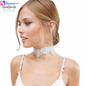 SUSENSTONE Lace Chokers Necklaces Fashion Women Pendant Necklace Choker Chains Charm Necklaces