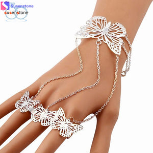 SUSENSTONE Simple Hollow Butterfly Bangle Bracelet Finger Bracelet Chain