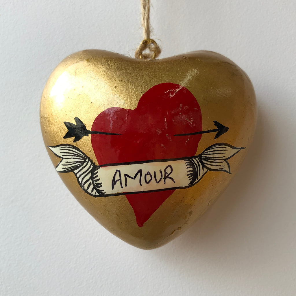 Amour Kashmiri - Hand Painted Heart Ornament