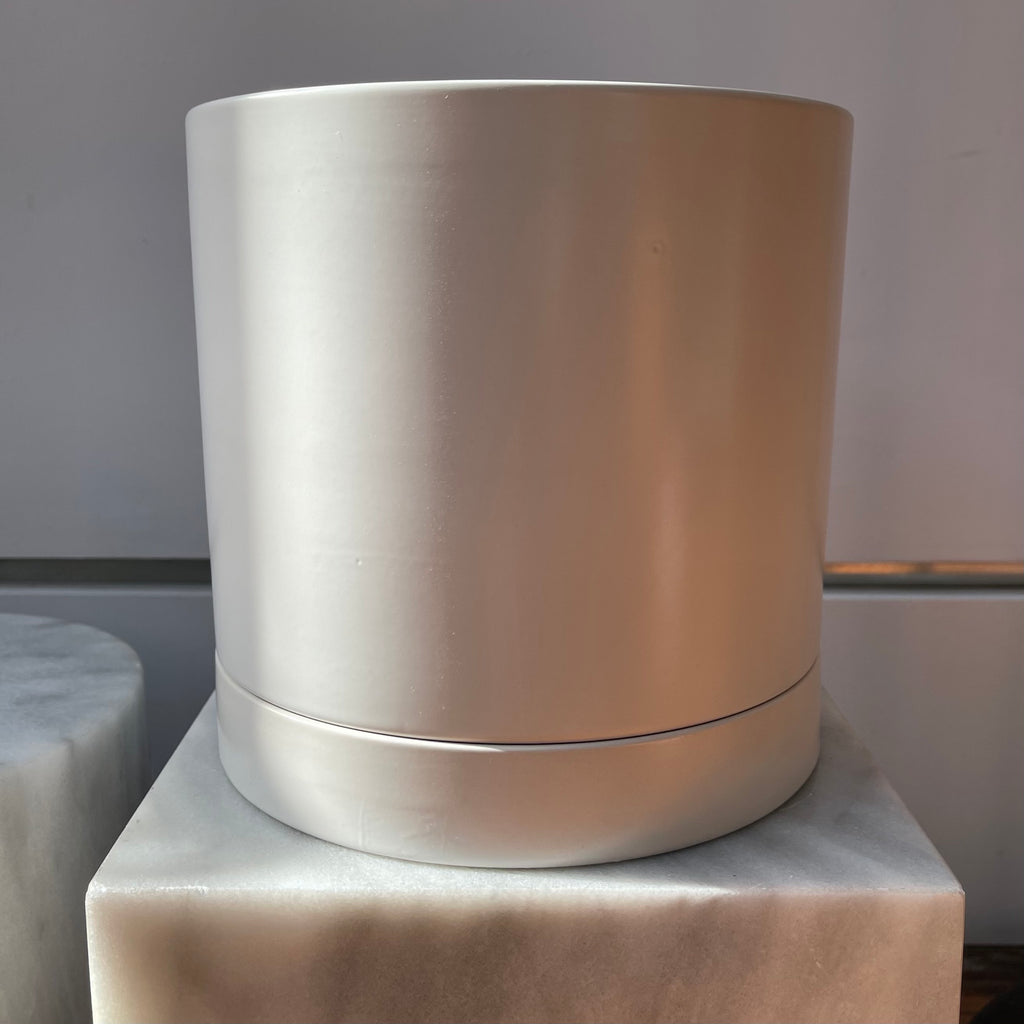 Matte White Cylinder Pot with Tray