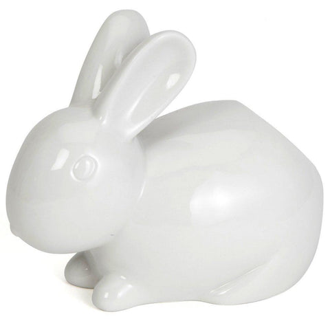 Cotton Tail White Rabbit Ceramic Cotton Ball Dispenser