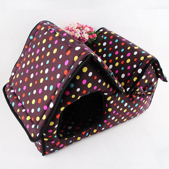 Folding Double Top Zipper Pet House/Beds