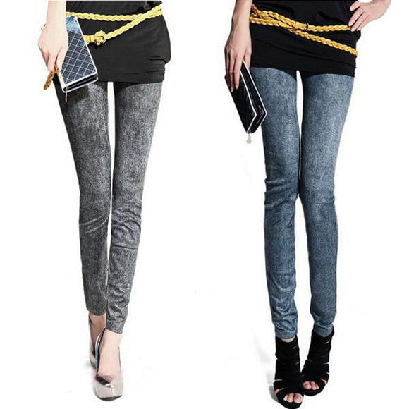 Women Ladies Slim Skinny Sexy Jeggings Stretchy Leggings Pants Tight Denim Faux Jeans
