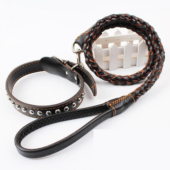 Genuine Leather Dog Leash  Rivet Dog Collar Adjustable  for Large Dogs