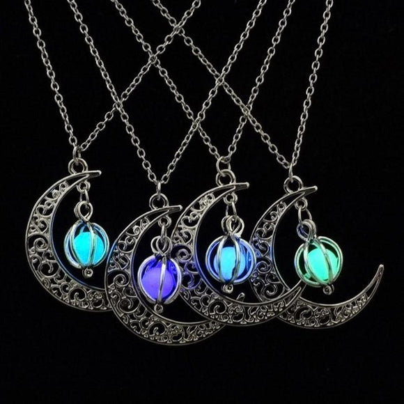 Crescent Glow in the Dark Pendant
