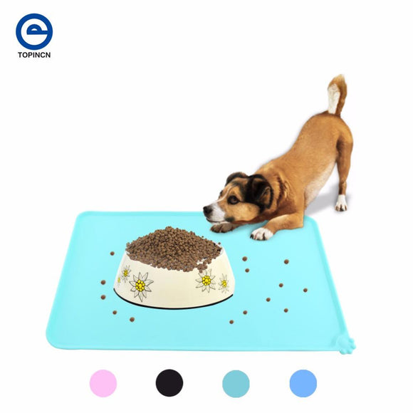 Wipe Clean Dog Puppy Cat Feeding Mat Pad Cute Silicone Bed Dish Bowl Food Water Feed Placemat 4 Colors